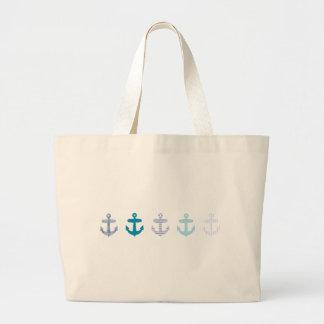 Nautical Blue Anchors Design Large Tote Bag