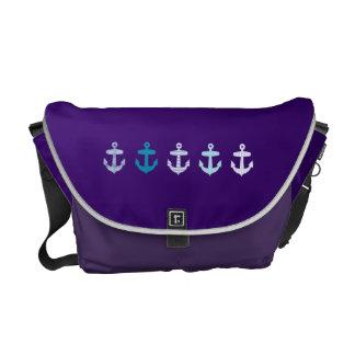 Nautical Blue Anchors Design - Purple bag Messenger Bags