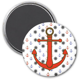 Nautical Blue and Red Anchors & Wheels Magnet