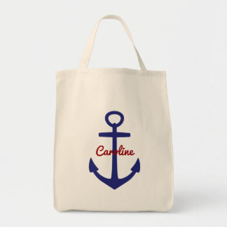 Nautical Blue and Red Personalized Anchor