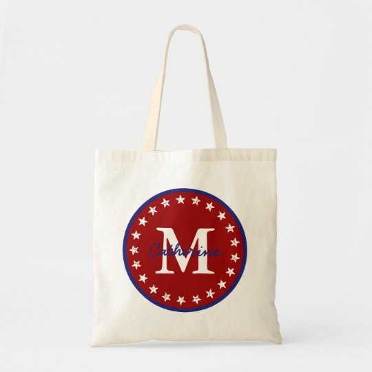Nautical Blue and Red With Stars Monogram Tote