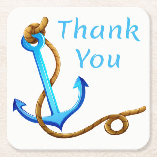 Nautical Blue and Turquoise Ship Anchor Thank You Square Paper Coaster