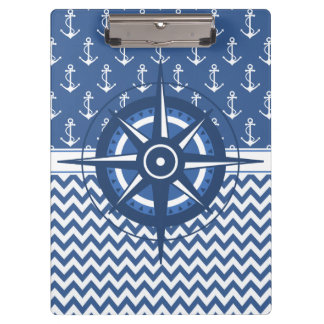 Nautical Blue and White Anchor and Chevron Pattern Clipboard