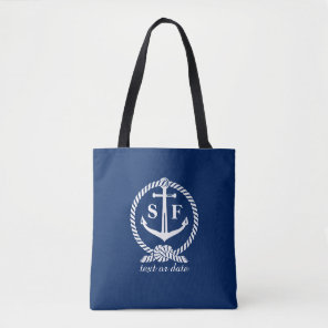 Nautical Blue and White Anchor Monogrammed Custom Tote Bag