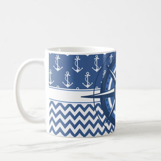 Nautical Blue and White Chevron and Anchor Pattern