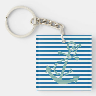 Nautical Blue and White Horizontal Stripe Double-Sided Square Acrylic Key Ring