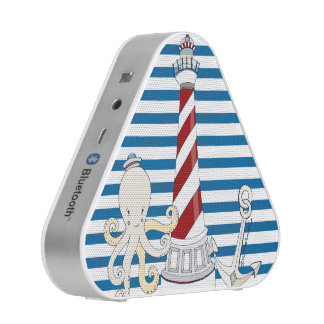 Nautical Blue and White Horizontal Stripe Speaker