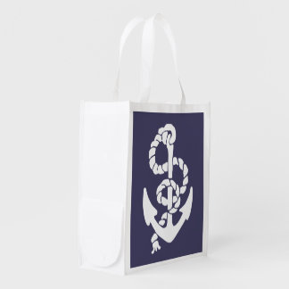 Nautical Blue And White Ships Anchor And Rope Reusable Grocery Bag