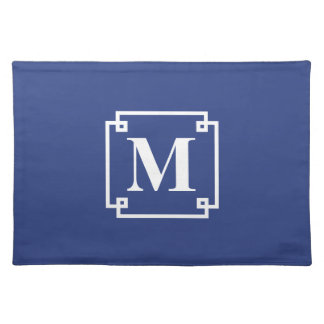 Nautical Blue and White Smart Monogram Placemat