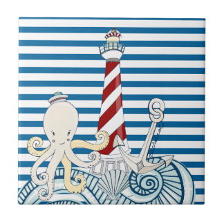 Nautical Blue and White Stripe Tile
