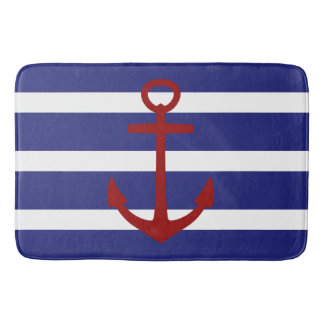 Nautical Blue and White Stripe with Red Anchor Bath Mat