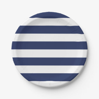 Nautical Blue And White Striped Paper Plate