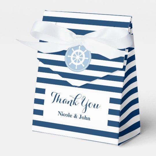 Nautical blue and white striped wedding favour box