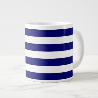 Nautical blue and white stripes giant coffee mug