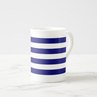 Nautical blue and white stripes bone china mug