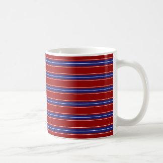 Nautical Blue and White Stripes on Nautical Red Basic White Mug