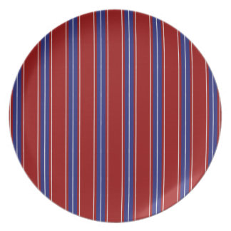 Nautical Blue and White Stripes on Red Dinner Plate