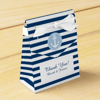 Nautical blue and white stripes wedding favour box