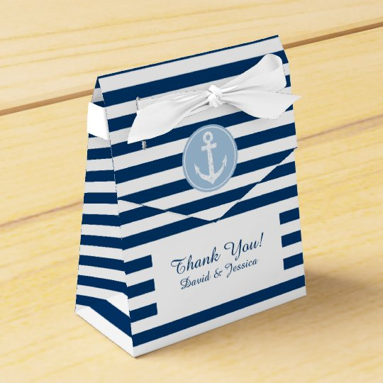 Nautical blue and white stripes wedding favour box