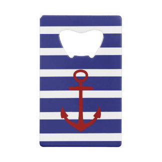 Nautical Blue and White Stripes with Red Anchor