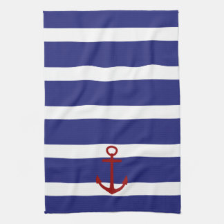 Nautical Blue and White Stripes with Red Anchor Hand Towels