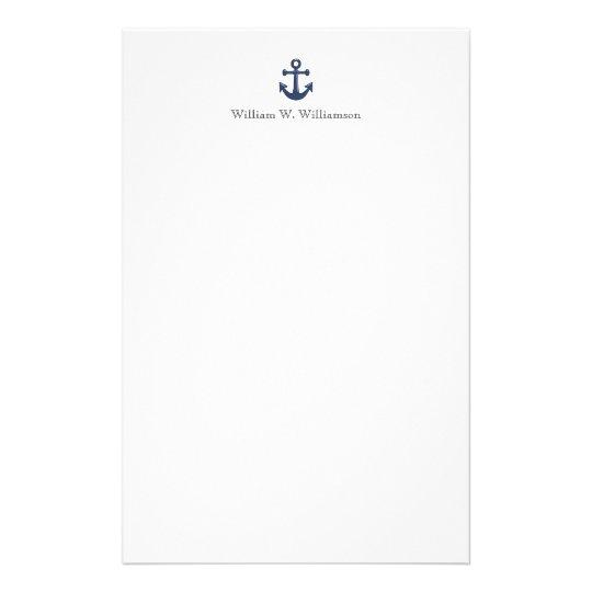 Nautical Blue Boat Anchor Custom Name Stationery