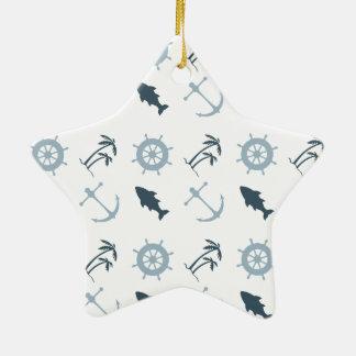Nautical Blue Ceramic Star Decoration