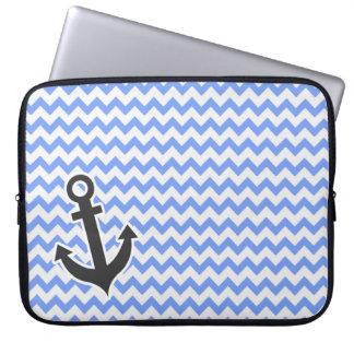 Nautical Blue Chevron Laptop Sleeve