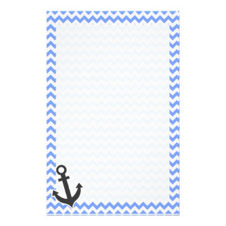 Nautical Blue Chevron Personalized Stationery