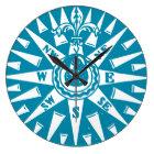 Nautical Blue Compass clock