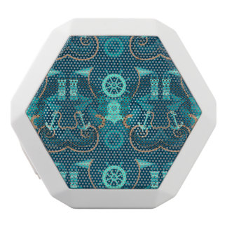 Nautical Blue Design White Bluetooth Speaker