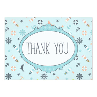 Nautical Blue Ocean Anchor Lighthouse Thank you Card