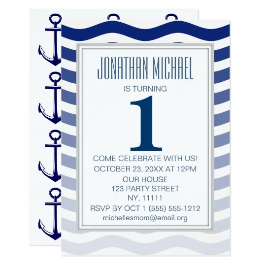 Nautical Blue Ombre Wave Anchor First Birthday Card