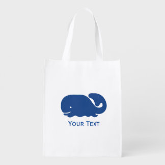 Nautical Blue Preppy Whale Personalized Reusable Grocery Bag