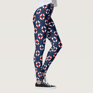 Nautical Blue Red Anchor Ship Wheels Leggings