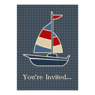 Nautical Blue, Red, Cream Sailboat Custom 13 Cm X 18 Cm Invitation Card