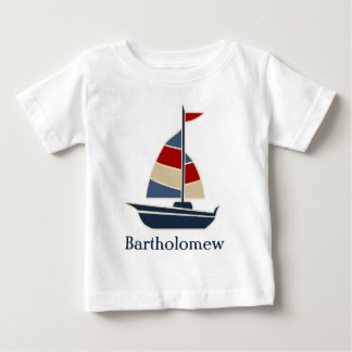 Nautical Blue, Red, Cream Sailboat Custom Baby T-Shirt