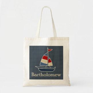 Nautical Blue, Red, Cream Sailboat Custom Budget Tote Bag