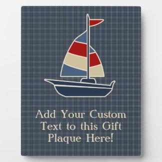 Nautical Blue, Red, Cream Sailboat Custom Photo Plaques