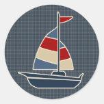 Nautical Blue, Red, Cream Sailboat Custom Round Stickers