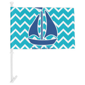Nautical Blue Sail Boat and Chevron Personalized Car Flag