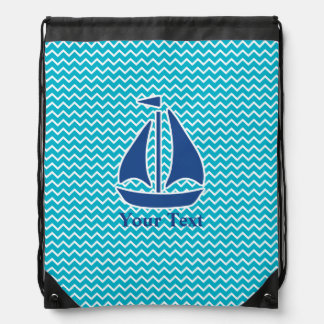 Nautical Blue Sail Boat and Chevron Personalized Drawstring Bag