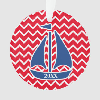Nautical Blue Sailboat Custom Chevron pattern