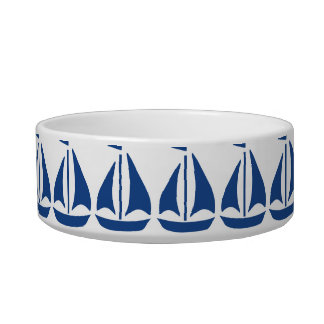 Nautical Blue Sailboat preppy personalized Bowl