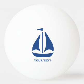 Nautical Blue Sailboat preppy personalized Ping Pong Ball