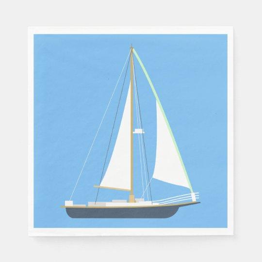 Nautical Blue Sailboat Wedding Beach Party Disposable Napkins