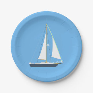 Nautical Blue Sailboat - Wedding Party Beach Ocean Paper Plate