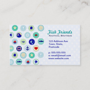 Turquoise ocean business cards zazzle uk nautical blue sailor pattern business card reheart Choice Image