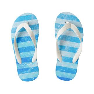 Nautical Blue Sea Stripes Kid's Flip Flops