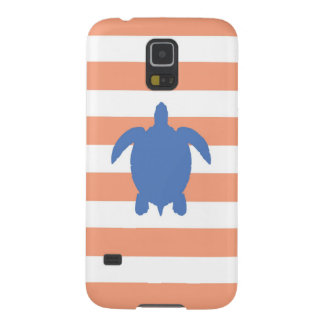 Nautical Blue Sea Turtle & Coral and White Stripes Galaxy S5 Case